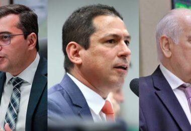 Wilson Lima, Marcelo Ramos e Serafim Corrêa comemoram o projeto de ampliação da LG no Amazonas