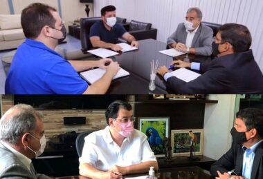 Desembargador e juiz do TJAM visitam Eduardo Braga e Roberto Cidade